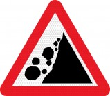 Falling rocks right side road sign 559