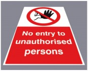 No entry to unauthorised persons floor graphic