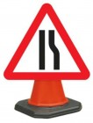 Road Narrows Right Cone Sign 517