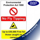No Fly Tipping Environmental Protection Sign