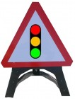Traffic Lights Triangle Temporary Sign With Plastic Frame 543