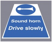 Sound horn drive slowly floor graphic