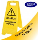 Electricians Working Yellow Freestanding sign