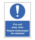 Fire exit keep clear (English Polish) Sign