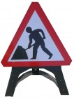 Men At Work Triangle Temporary Sign With Plastic Frame 7001