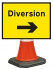 Diversion Right Cone Sign 2702