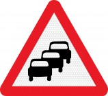 Queuing traffic road sign 584