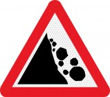 Falling rocks left side road sign 559