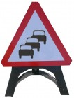 Queues Likely Temporary Sign With Plastic Frame 584