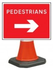 Pedestrians Right Cone Sign 7018