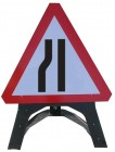 Road Narrows Left Triangle Temporary Sign With Plastic Frame 517