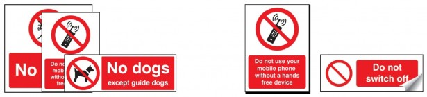 Vinyl & Plastic Prohibition Signs