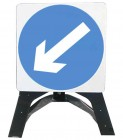 Keep Left Temporary Road Sign With Plastic Frame 610