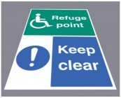 Refuge point keep clear floor graphic