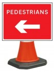Pedestrians Left Cone Sign 7018