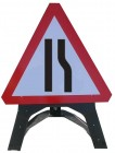 Road Narrows Right Triangle Temporary Sign With Plastic Frame 517