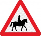 Accompanied horses on road road sign 550.1