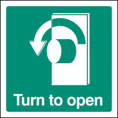 Turn to Open - Left Sign