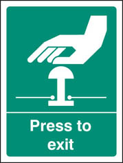 Press To Exit Sign