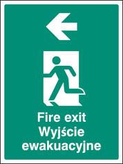 Fire exit arrow left (English Polish) Sign