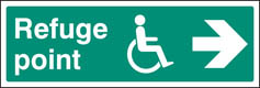 Refuge point right sign