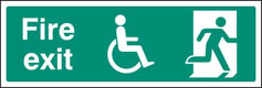 Disabled final fire exit sign