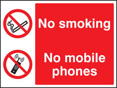 No smoking or mobile phones sign