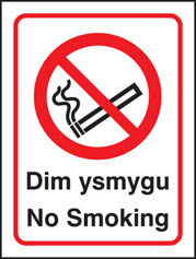 Welsh no smoking sign