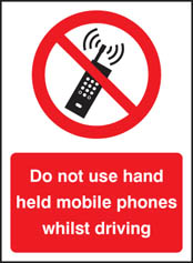 Do not use hand held mobiles driving Sign (3239)