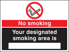 No smoking designated smoking area is (white black) Sign