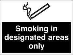 Smoking in designated areas only (white black) Sign