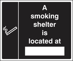 Smoking shelter located at (white black) Sign