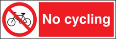No Cycling Prohibition Sign