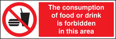 Consumption of food or drink is forbidden in this area sign