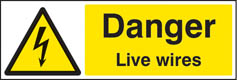 Danger live wires sign