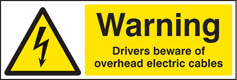 Warning drivers beware overhead cables sign