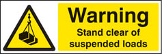 Warning stand clear of suspended loads sign