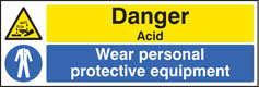 Danger acid wear PPE sign