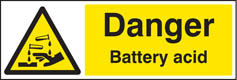 Danger battery acid sign
