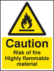 Caution risk of fire highly flammable sign