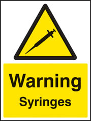 Warning syringes Sign
