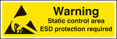 Warning static control area ESD protection required sign