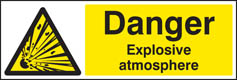 Danger explosive atmosphere BS5499 sign