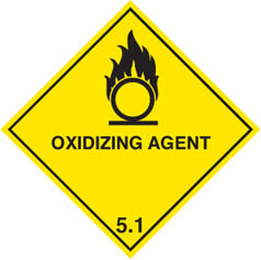 Hazard label Oxidising agent diamond