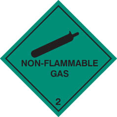 Hazard label Non flammable gas