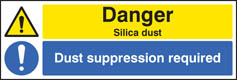 Danger silica dust suppression required Sign