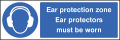 Ear protection zone Protectors worn sign