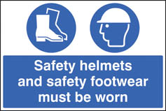 Safety helmets and footwear must be worn sign