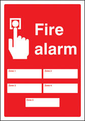 Fire alarm 5 zones Editable Sign