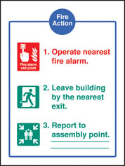 Fire Action Adhesive Backed Sign